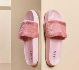 25152cd06485 Leadcat Fenty Rihanna Faux Fur Slippers Women Girls Sandals Fashion Scuffs  Black Pink Red Grey Blue Designer Slides High Quality