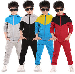 Boys winter coat pants online shopping - Kids boys girls athletic splice Clothing Sets Patchwork Hooded Coat Pants Tracksuits Autumn Spring Sport Suits