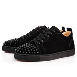 Vente en gros Designer Baskets Bas Rouge Coupe Basse Pointes Flats Chaussures Pour Hommes Femmes Cuir Baskets Casual Chaussures Avec Sac