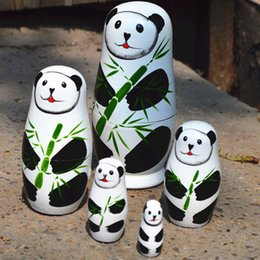 Discount handicraft dolls - Russian matryoshka-children's educational toys, panda-style dolls, wooden handicrafts