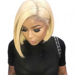 $enCountryForm.capitalKeyWord NZ - 613 Honey blond Lace frontal wig 13x4 Brazilian Straight human hair wigs 10-14 inch Preplucked non remy Short straight bob wig For women