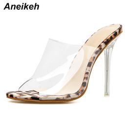 b97afcc493e Dress Aneikeh Big Shoes Size 41 42 Leopard Print Sandals Open Toe High  Heels Women Transparent Perspex Slippers Shoes Heel Clear Pumps