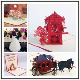 $enCountryForm.capitalKeyWord Australia - 3D Valentine's Day wedding greeting card pop up card hollow red bridal sedan chair Paper Invitation Card Party Decorations
