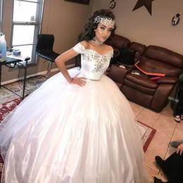 76d1769888 Vestidos de Quinceañera blancos 2019 Vestido de fiesta Dulce 15 Vestido de bola  Dos piezas Cuentas de tul Lentejuelas Vestidos de fiesta formal Vestidos