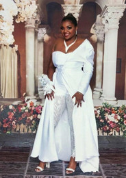 elastic chiffon jumpsuit Canada - 2020 New White Jumpsuits Plus Size Prom Dresses with One Shoulder Satin Detachable Train Evening Celebrity Gowns Lace Sequined