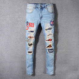 Mens lightweight casual trousers online shopping - Top brand mens jeans AM jean casual hole trousers summer thin section overalls patch pants trousers comfortable high quality shorts new