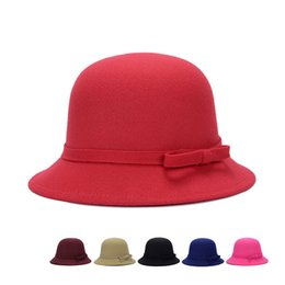 $enCountryForm.capitalKeyWord Australia - Women's Felt Hats Vintage Bow Top Hat Bucket Cap Famous Brand Clothing Large Clothing Accessories For Ladies Women Bowler Visor
