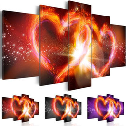 Abstract Designs Pictures Australia - Canvas Art Print Modern Abstract Flaming Red Heart Design Pictures Home Office Bar Decoration, Choose Color & Size(No Frame)