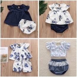 Floral Print Shirts Baby Australia - Baby Girl Clothes Kids Summer Floral Printed Suits Fly Sleeve Tops Shorts Outfits Tassel T-shirt Fringed Blouse Pants Diaper Covers A5394