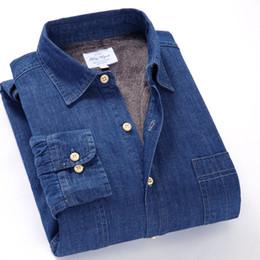 Men S Thick Shirt NZ - 2018 Winter Men's Denim Shirt Warm Fleece Cowboy Long-sleeved Shirt Men Velvet Thick Leisure Cotton Shirts Boys