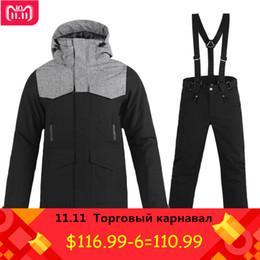 Ski Suits Australia - Ski Sets Men's New Brand Double Board Snowboard Jacket+Pants Adult Snow Clothing Waterproof Warm Resist -30 Degree Male Ski Suit