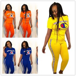 Super girl Shirt online shopping - Women Champions Summer Outfits Short Sleeve T shirt Pants Piece Tracksuit letter printed Sportswear Sports suit Joggers Set SUPER A362
