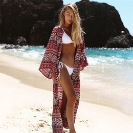 $enCountryForm.capitalKeyWord Australia - Boho Bohemian Striped Print Blue Summer Beach Wear Long Kimono Women Swimsuit Cover Up Plus Size Bikini Coverup Sarong Plage A47