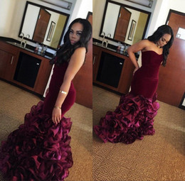 flower girls size 16 NZ - New Burgundy Long Black Girls Mermaid Prom Dresses Rose Floral Flowers Tiered Sweetheart Velvet Plus Size Formal Evening Gowns Party Dress