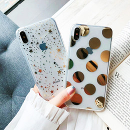 Iphone case metal gIrl online shopping - Luxury Electroplate Polka Dots Stars Case for iPhone X XS Max Xr Transparent Soft TPU Capa for iPhone S Plus Case for Girls