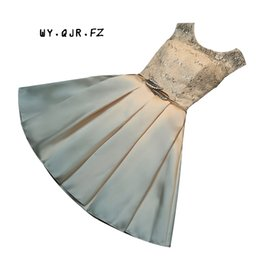 Dress marrieD short online shopping - HA1 Lace Up Bridesmaid dresses spring new bride married toast clothing short Slim metal belt champagne party prom