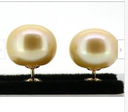 China 12-13MM AUSTRALIA SOUTH SEA GOLD PEARL EARRING 14k YELLOW GOLD cheap pearl australia suppliers