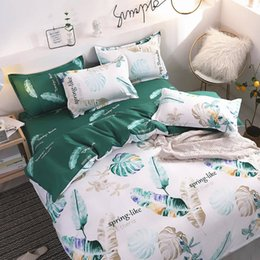 white single beds Australia - Feather Bedding Set King Size Simple Soft High End White Duvet Cover Leaves Queen Single Full Twin Soft Bed Cover with Pillowcase