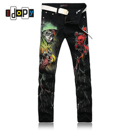 printed skull jeans Australia - European Style Cool Skinny Jeans For Men Skull 3D Print Painted Punk Gothic Black Jeans