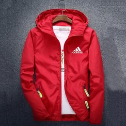 Wholesale red coat zippers resale online - Fashion Brand Mens Jackets Coat Autumn Designer Hooded Jacket With Letters Windbreaker Zipper Hoodies For Men Sportwear Clothes