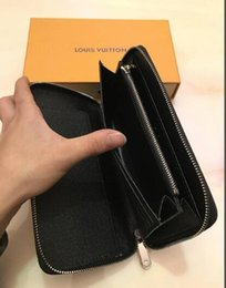 Hot folder online shopping - hot sale louis vuitton Large capacity single zip wallet top quality Check folder clutch hand bag luxury evening package purse