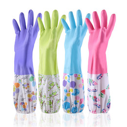 Kitchen plus online shopping - 5 Paris Kitchen Durable Thickened Skin Care Latex Cleaning Household Gloves Plus Velvet Washing Rubber Waterproof Gloves