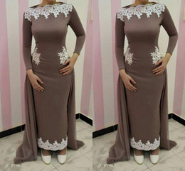 nude model women NZ - Sheath Ankle Length Long Sleeve Evening Dresses Lace Appliques Arabic Women Formal Gowns Muslim Dubai Evening Prom Dress