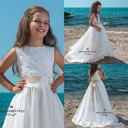 Toddler White Dress Red Sash Australia - 2019 Adorable White Flower Girl Dresses Western Weddings Princess A Line Jewel Neck Appliqued With Belt Toddler Kids Pageant Gowns