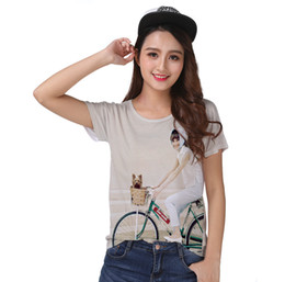Vintage Dog Print UK - Track Ship+New Vintage Retro Cool Rock&Roll Punk T-shirt Top Tee I Hepburn Angel Love Riding Bicycle with My Yorkshire Dog