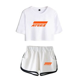 Wholesale kpop short shirts for sale – custom Kpop ATEEZ Harajuku Casual Two Piece Set Shorts And T shirt Clothes Hongjoong Seonghwa Yunho Yeosang San Mingi Wooyoung Jongho