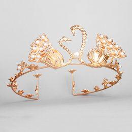 crown head tiara 2019 - Gold Full Circle Tiaras Pageant Swan Clear Austrian Rhinestones Pearls King Queen Crowns Wedding Bridal Crown Headbands
