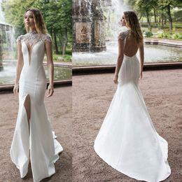 $enCountryForm.capitalKeyWord Australia - Modest White Side Split Mermaid Wedding Dresses High Collar Beading Sexy Wedding Gown Sweep Train Satin robe de mariage