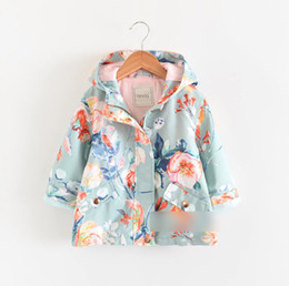 $enCountryForm.capitalKeyWord NZ - 2019 Autumn new kids jacket girls floral printed double pocket princess outwear children hooded long sleeve zipper trench coat F8246