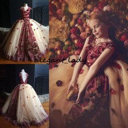 Blue christmas flowers online shopping - Loganberry Tulle Flower Girls Dress With Floral Lace Applique V Neck Cap Sleeve Girls Pageant Dress Lovely Girls Formal Wedding Dress
