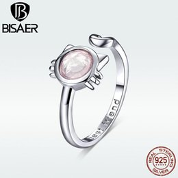 Cluster Rings For Womens Australia - BISAER Cat Design 100% 925 Sterling Silver Lovely kitty Adjustable Finger Rings Pink Glass Ball For Womens Rings Jewelry HVR033