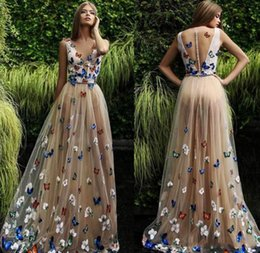$enCountryForm.capitalKeyWord NZ - Butterfly And Flower Prom Dresses 2019 Sheer Neck Sleeveless Long Evening Gowns Back Covered Buttons Arabic Formal Party Dress Custom Made
