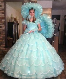 Crystal Gown Year Girl Australia - Vintage Traditional Light Blue Ball Gown Quinceanera Dresses 2019 Organza Ruffles Tiered Skirt Girl Prom Dresses Sweet 15 16 Year Dress