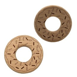 wooden charms pendants wholesale Canada - 200pcs Baby Interesting Handmade Natural Beech Wooden Doughnut shape Teether Toys DIY Pendant Ring Charms Shower Gift Accessories