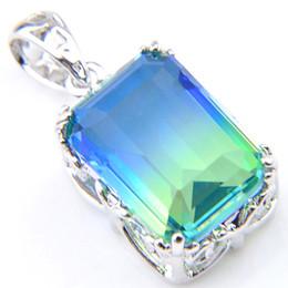 $enCountryForm.capitalKeyWord Australia - 12 pcs lot Shiny Jewelry Gift Gradient Bi-Colored Tourmaline 925 Silver Fashion Necklace Pendants Jewelry New