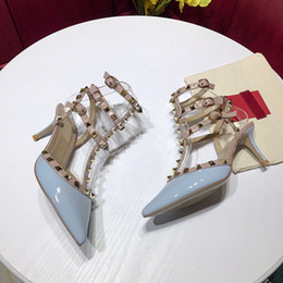 leather strap shoes Australia - Designer Pointed Toe 3-Strap with Studs high heels Patent Leather rivets Sandals Women Studded Strappy Dress Shoes valentine high heel Shoes