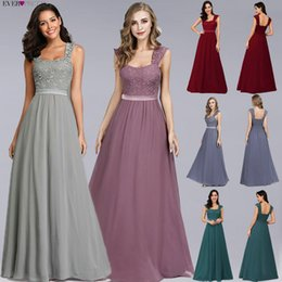 night robe 3xl Canada - Burgundy Bridesmaid Dresses Elegant A-Line Long Chiffon Lace Wedding Guest Party Gowns Ever Pretty Robe Demoiselle D Honneur Y200109