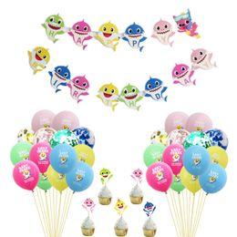 $enCountryForm.capitalKeyWord Australia - Baby Shark Cake Cards Toothpicks Cupcake Inserts Card Latex Sequins Cartoon Balloons String Flags Kids Birthday Party Supplies 25pcs C71105