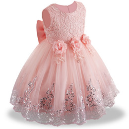 BaBy pink Ball gowns online shopping - 2019 summer infant Baby Girl Dress Lace white Baptism Dresses for Girls st year birthday party wedding baby clothing