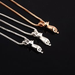 korean 14k gold 2019 - Small animal cat necklace female short paragraph Japanese and Korean pendant cute wild clavicle chain sweet accessories