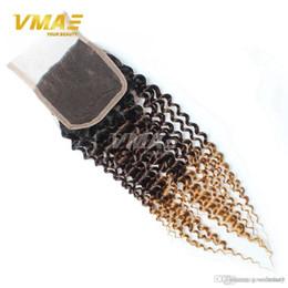 $enCountryForm.capitalKeyWord Australia - Brazillian Kinky Curly Lace Closure 4x4 Free Middle Part Color 1B 4 27# Ombre Human Hair Brazilian Deep Curly 3 tone Top Closure