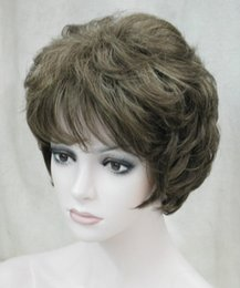 Ladies curLy hair online shopping - Ladies fashion Short Curly brown Natural Hair Women s full Wigs for women wig Free deliver