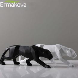 Vente en gros Ermakova Leopard Statue Grande Taille Moderne Abstrait Géométrique Style Résine Sculpture Sculpture Animal Figurine Home Office Decor Y19062704