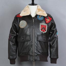 7bdd24ed7 Avirex fly Fur Collar Motorcycle Biker Jacket G1 Genuine Leather Jacket Men  Cowskin Bomber Real Leather Coat