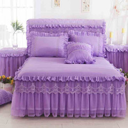 purple princess bedding NZ - 1 Piece Lace Bed Skirt +2 pieces Pillow cases bedding set Princess Bedding Bedspreads sheet Bed For Girl bed Cover King Queen size