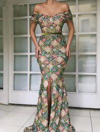Modern velvet evening dress online shopping - Long Arabic Evening Dresses Elegant V neck Mermaid Cap Sleeve Front Slit Sequin Lebanon Women Formal prom Gowns